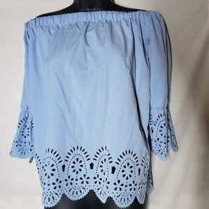 Blue Off The Shoulder Eyelet Blouse Size Small